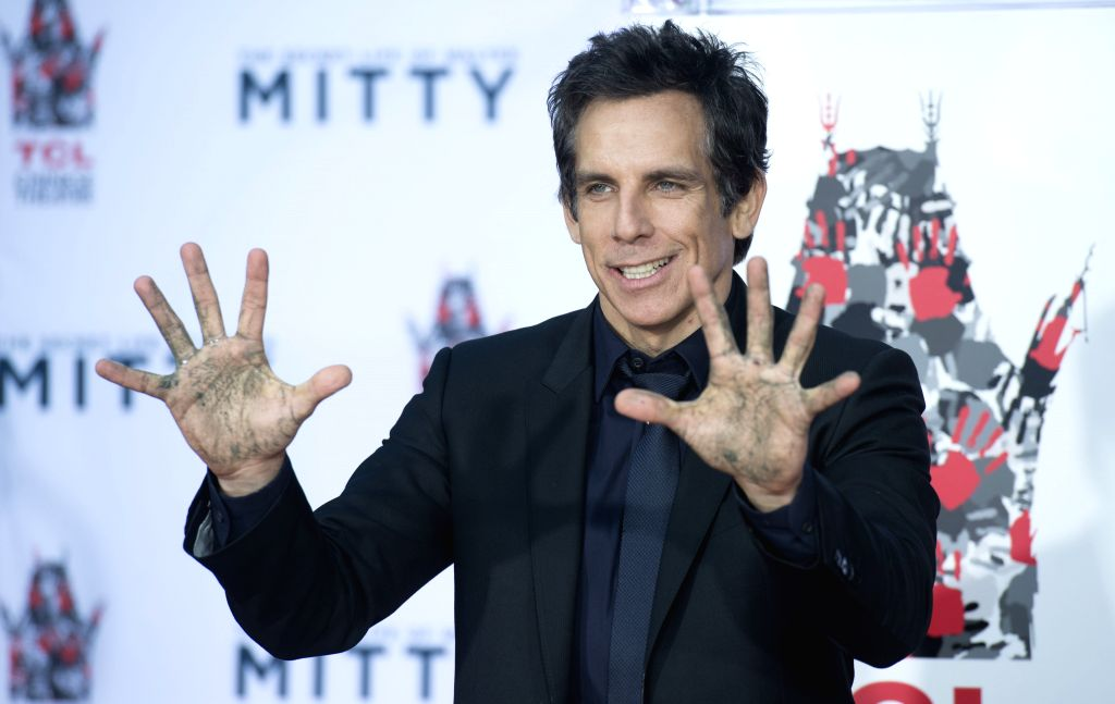 : HOLLYWOOD, Dec. 4, 2013 (Xinhua/IANS)U.S. actor Ben Stiller poses at his hand and footprint ceremony outside the TCL Chinese Theater in Hollywood, California, Dec. 3, 2013. (Xinhua/Yang Lei).