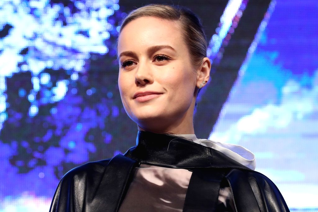 """Hollywood star Brie Larson attends a press conference in Seoul on April 15, 2019, to promote the new movie """"Avengers: Endgame."""" The movie will be released in South Korea on April 24."""