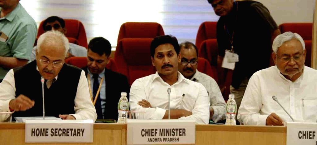 Home Secretary Ajay Kumar Bhalla, Andhra Pradesh Chief Minister Y.S. Jagan Mohan Reddy and Bihar Chief Minister Nitish Kumar at a meeting of all Chief Ministers of Maoist-affected states ... - Y., Nitish Kumar and Amit Shah