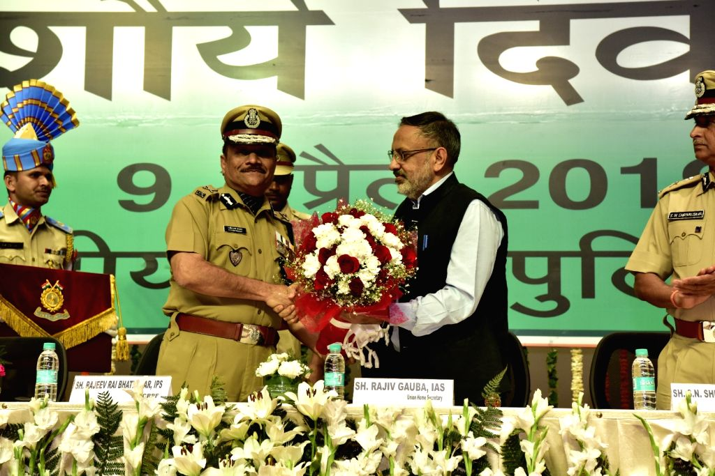 Home Secretary Rajiv Gauba and CRPF DG Rajeev Rai Bhatnagar during a programme organised on the annual 'Valour Day' of the CRPF, in New Delhi on April 9, 2019. - Rajeev Rai Bhatnagar