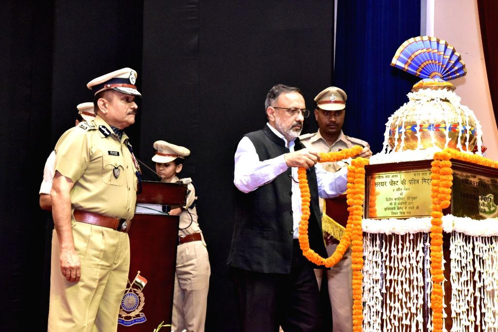 Home Secretary Rajiv Gauba pays homage to the martyrs during a programme organised on the annual 'Valour Day' of the CRPF, in New Delhi on April 9, 2019.