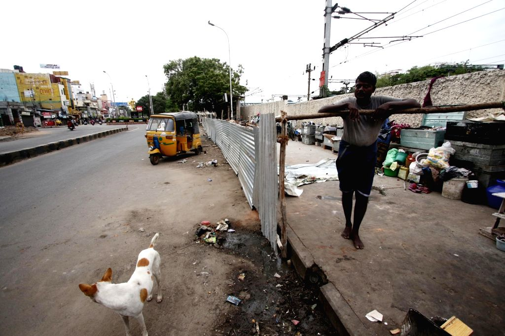 Homeless people quarantined in the streetsides by Greater Chennai Corporation amid COVID-19 pandemic, in Chennai on Aug 12, 2020.