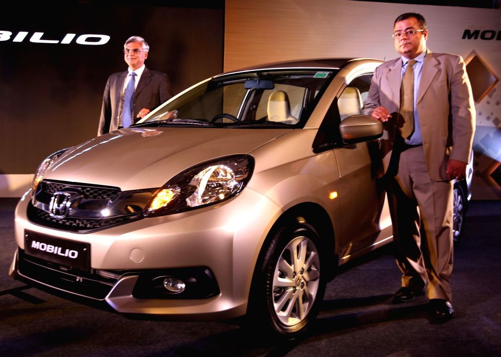 Honda Car India Ltd  Senior Vice President -Sales and Marketing Jnaneswar Sen during launch of Honda Mobilio in Kolkata on Aug 4, 2014.