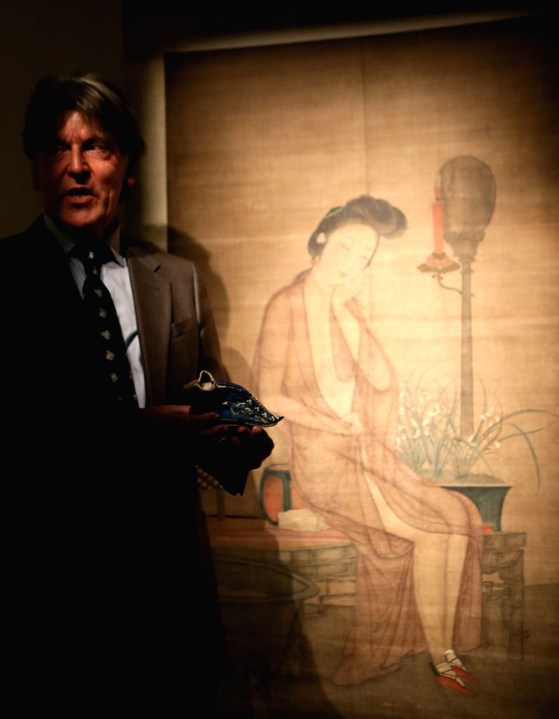 "Ferdinand M. Bertholet introduces his collection during a media preview of ""Gardens of Pleasure: Sex in Ancient China, An Exhibition of the Ferdinand M. ..."