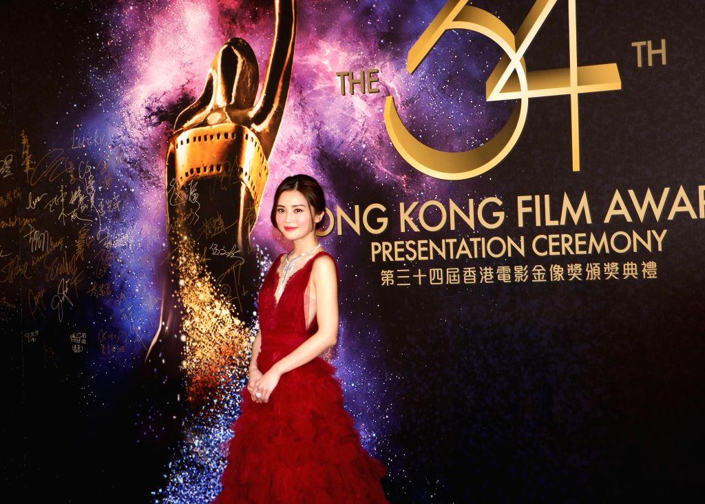 Actress and singer Charlene Choi poses at the 34th Hong Kong Film Awards in Hong Kong, south China, April 19, 2015.