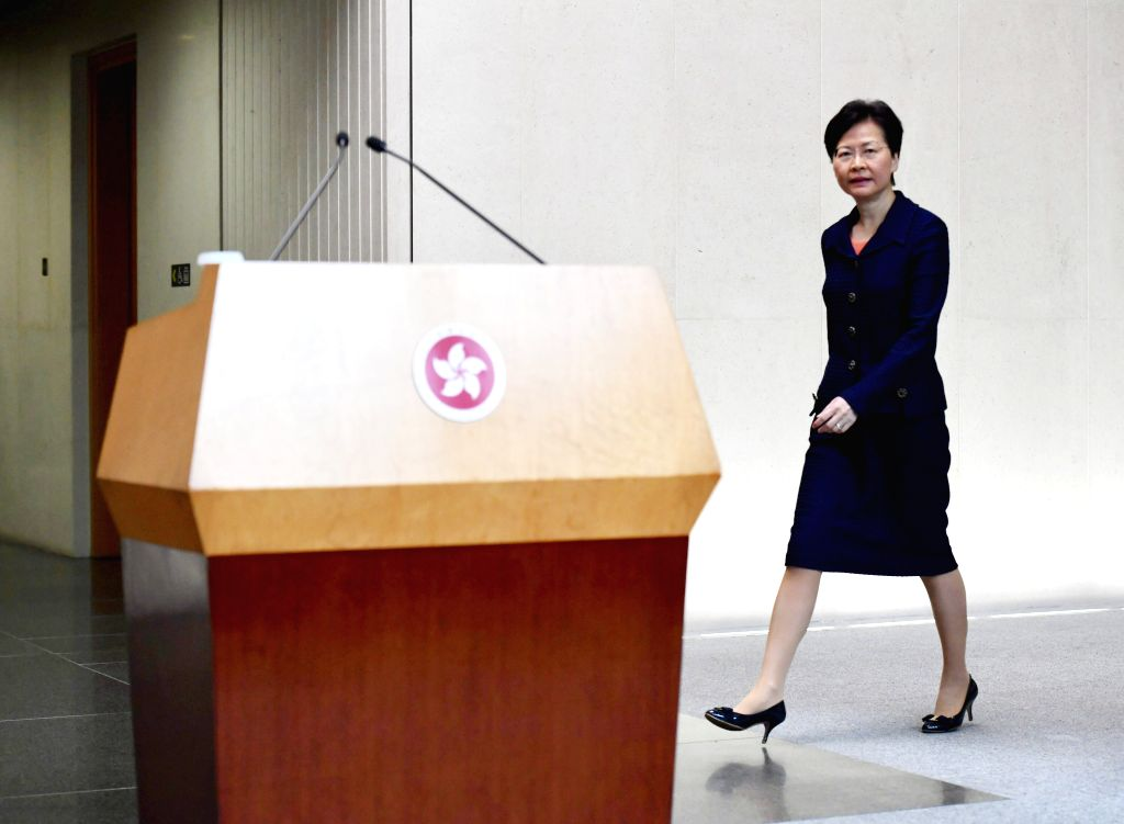 HONG KONG, Aug. 20, 2019 (Xinhua) -- The Hong Kong Special Administrative Region (HKSAR) Chief Executive Carrie Lam attends a press conference in south China's Hong Kong, Aug. 20, 2019. The HKSAR government will start work immediately on building a p