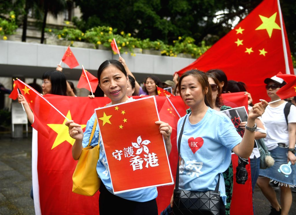HONG KONG, Aug. 27, 2019 - Protestors march to the U.S. Consulate General in China's Hong Kong Special Administrative Region (HKSAR) during a demonstration against the U.S. interference in China's ...