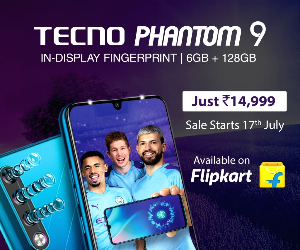 Hong Kong-based Transsion Holdings' smartphone brand TECNO Mobile on Tuesday said its flagship smartphone Phantom 9 will be available on Flipkart starting July 17.