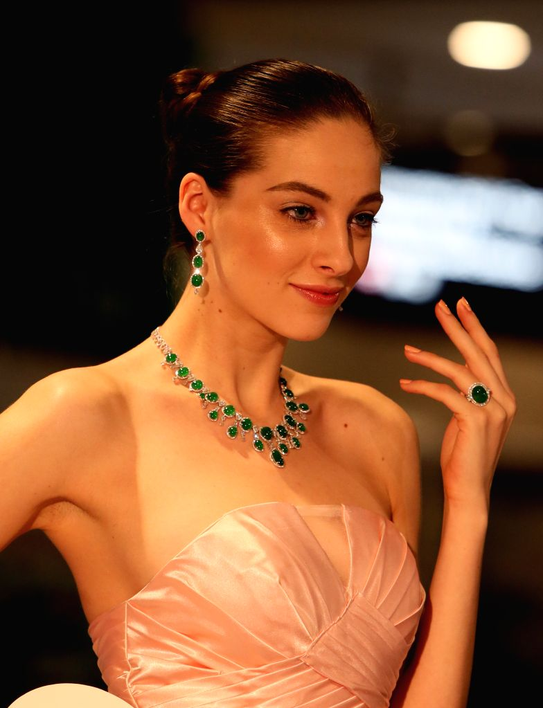HONG KONG, March 5, 2017 - A model presents jadeite jewellery at Hong Kong International Jewellery Show in Hong Kong, south China, March 5, 2017. The five-day jewellery show, with the participation ...