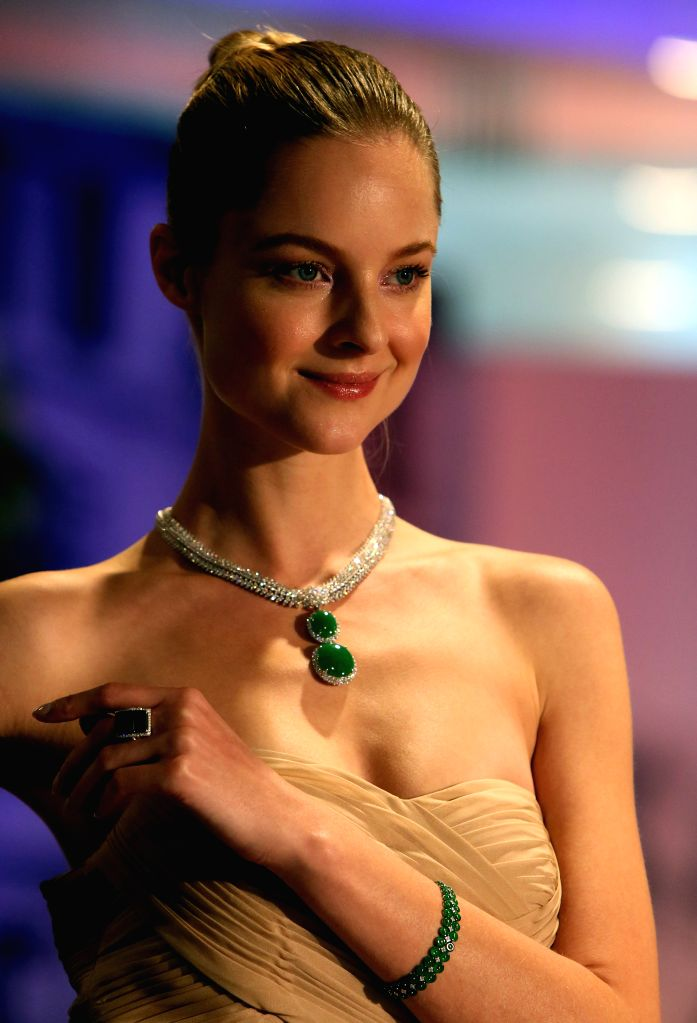 HONG KONG, March 5, 2017 - A model presents jewellery at Hong Kong International Jewellery Show in Hong Kong, south China, March 5, 2017. The five-day jewellery show, with the participation of 2,580 ...
