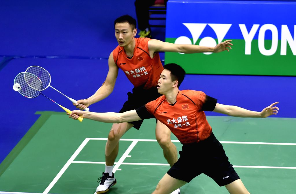 HONG KONG, Nov. 12, 2019 - Ou Xuanyi (front)/Zhang Nan of China compete during the men's doubles first round qualification match against Lin Chia Yu/Yang Ming-Tse of Chinese Taipei at the 2019 Hong ...