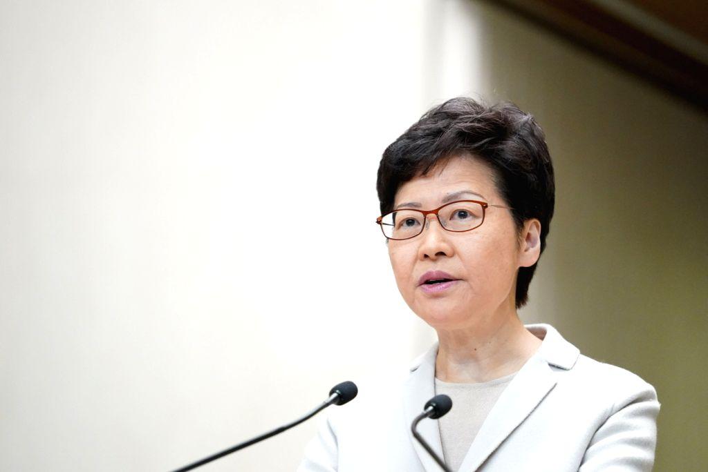 HONG KONG, Nov. 26, 2019 (Xinhua) -- Chief Executive of China's Hong Kong Special Administrative Region (HKSAR) Carrie Lam speaks at a press conference in Hong Kong, south China, Nov. 26, 2019. Carrie Lam said on Tuesday that the HKSAR government wil
