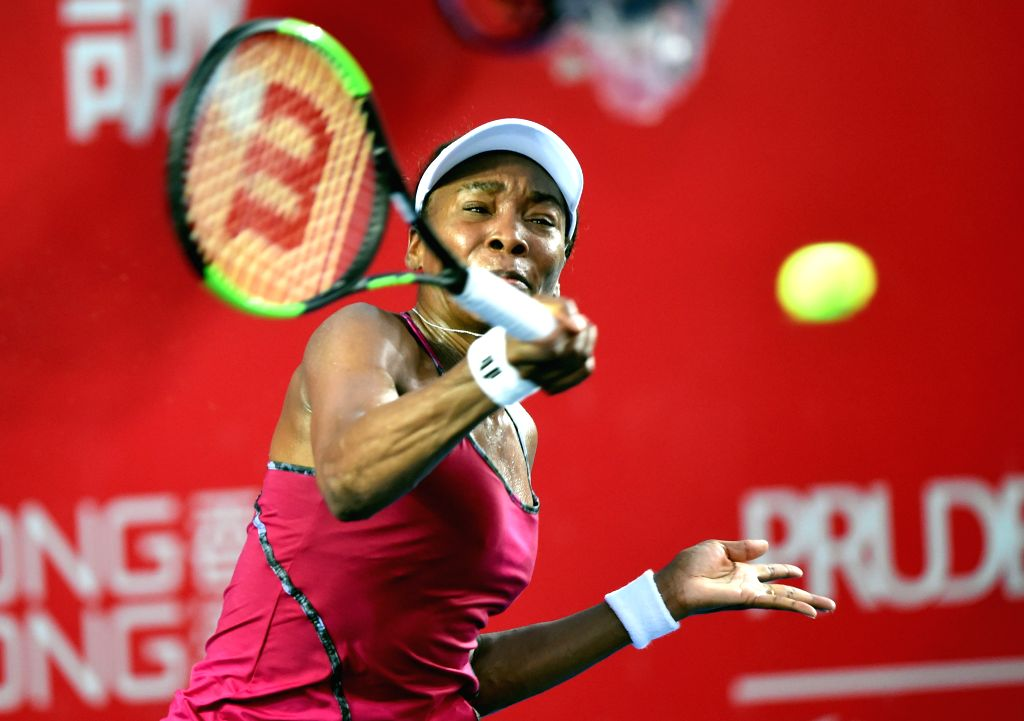 HONG KONG, Oct. 11, 2017 - Venus Williams of the United States of America hits a return during the singles second round match against Japan's Naomi Osaka at 2017 WTA Hong Kong tennis Open in Hong ...