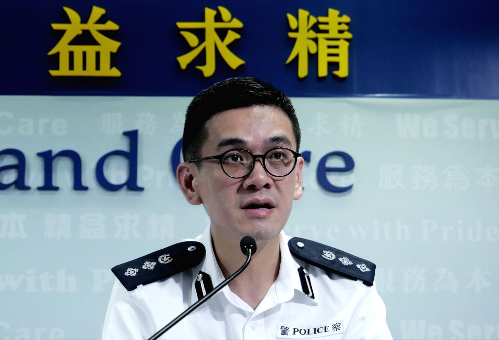 "HONG KONG, Oct. 8, 2019 - Kong Wing-cheung, senior superintendent of the Police Public Relations Branch, speaks at a media briefing in south China's Hong Kong, Oct. 8, 2019. TO GO WITH ""Rioters ..."