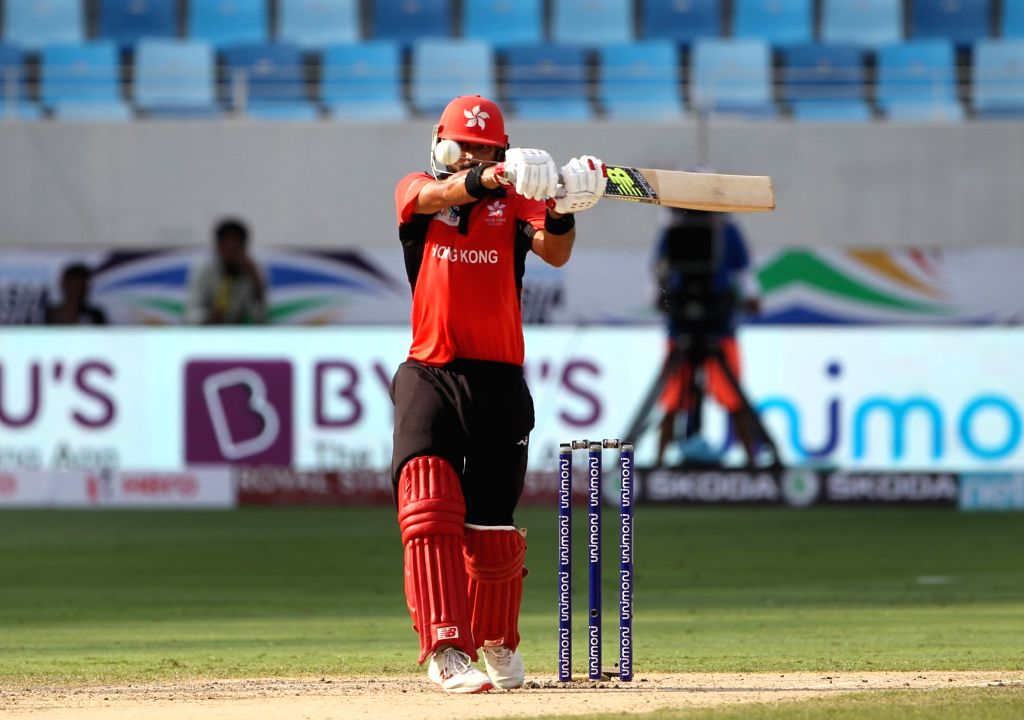 Hong Kong's Anshuman Rath in action during the second match (Group A) of Asia Cup 2018 between Hong Kong and Pakistan at Dubai International Cricket Stadium on Sept 16, 2018.