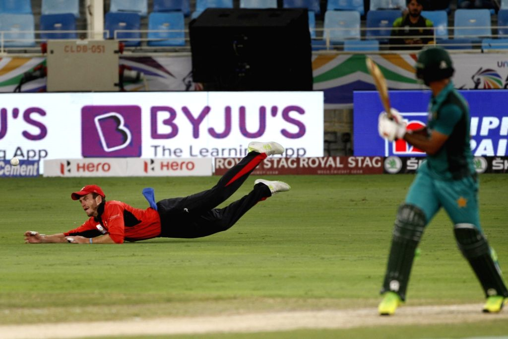 Hong Kong's Christopher Carter in action during the second match (Group A) of Asia Cup 2018 between Hong Kong and Pakistan at Dubai International Cricket Stadium on Sept 16, 2018.