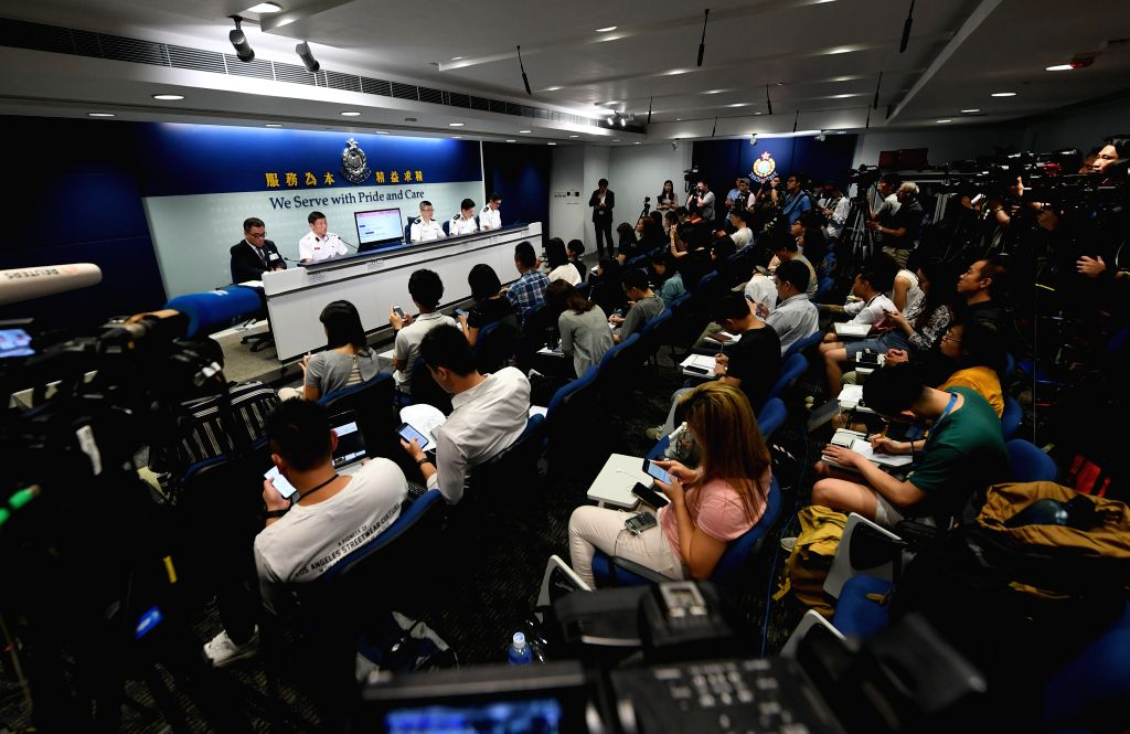 HONG KONG, Sept. 2, 2019 - Hong Kong police holds a press conference in Hong Kong, south China, Sept. 2, 2019. A total of 159 people were arrested for the massive violence in Hong Kong at the ...