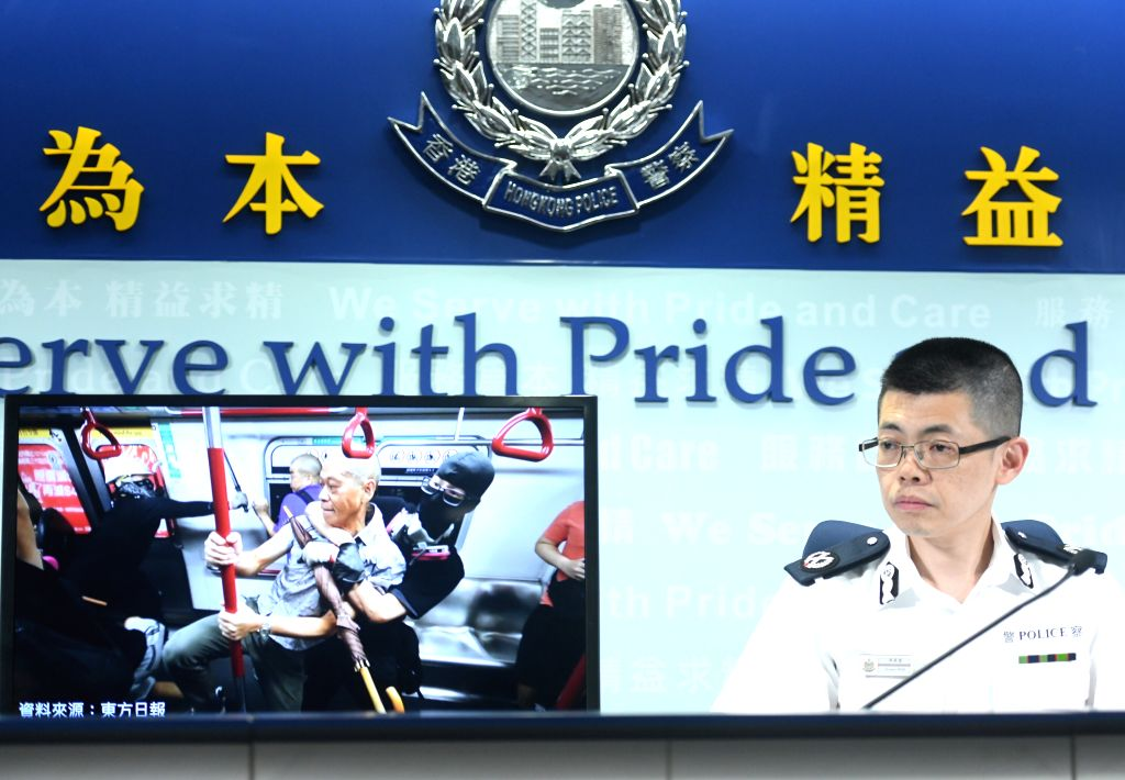 HONG KONG, Sept. 2, 2019 - Mak Chin-ho, assistant commissioner of Hong Kong police, briefs on rioters attacking citizens during a press conference in Hong Kong, south China, Sept. 2, 2019. A total of ...