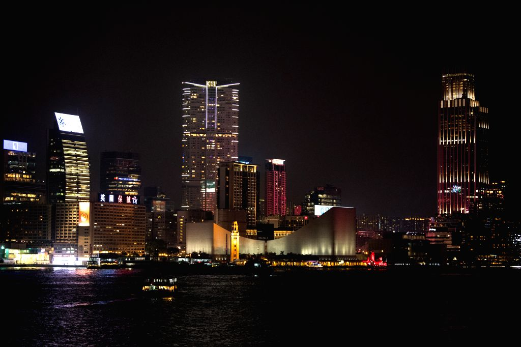 HONG KONG, Sept. 28, 2019 - Photo taken on Sept. 27, 2019 shows a night view of Tsim Sha Tsui and the Victoria Harbor in Hong Kong, south China.