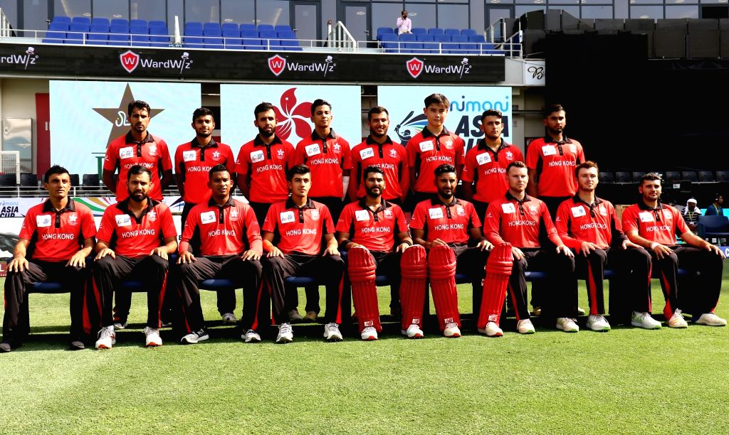 Hong Kong team ahead of the second match (Group A) of Asia Cup 2018 against Pakistan at Dubai International Cricket Stadium on Sept 16, 2018.
