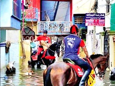 Horse riders as saviours of flood-hit Hyderabadis.