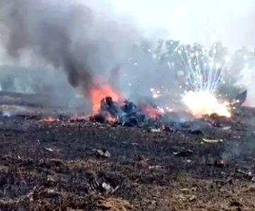 Hoshiarpur: An Indian Air Force (IAF) fighter aircraft crashed near Rurki Kalan village in Punjab's Nawanshehar district area of Hoshiarpur on May 8, 2020.