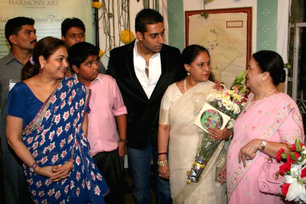 Host Tina Ambani with her son and Bollywood star Abhishek Bachchan as well as Rajya Sabha MP Jaya Bachchan at the Harmony Art show at Chhatrapati Shivaji Maharaj Vastu Sangrahalaya's Coomaraswamy - Abhishek Bachchan