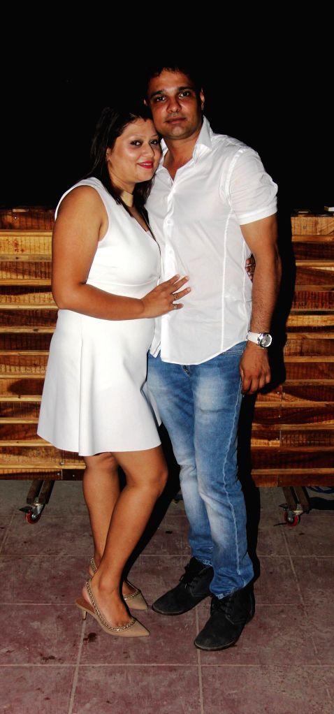 Hosts Arpana and Harpreet Singh Ahluwalia during the launch of Rude Lounge`s Powai branch opening in Mumbai on June 14, 2014. - Harpreet Singh Ahluwalia
