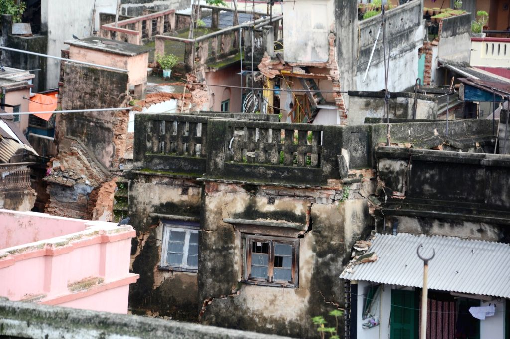 Houses in Central Kolkata's Bowbazar area damaged in underground tunnelling work for the East-West Metro Project, in Kolkata on Sep 5, 2019.