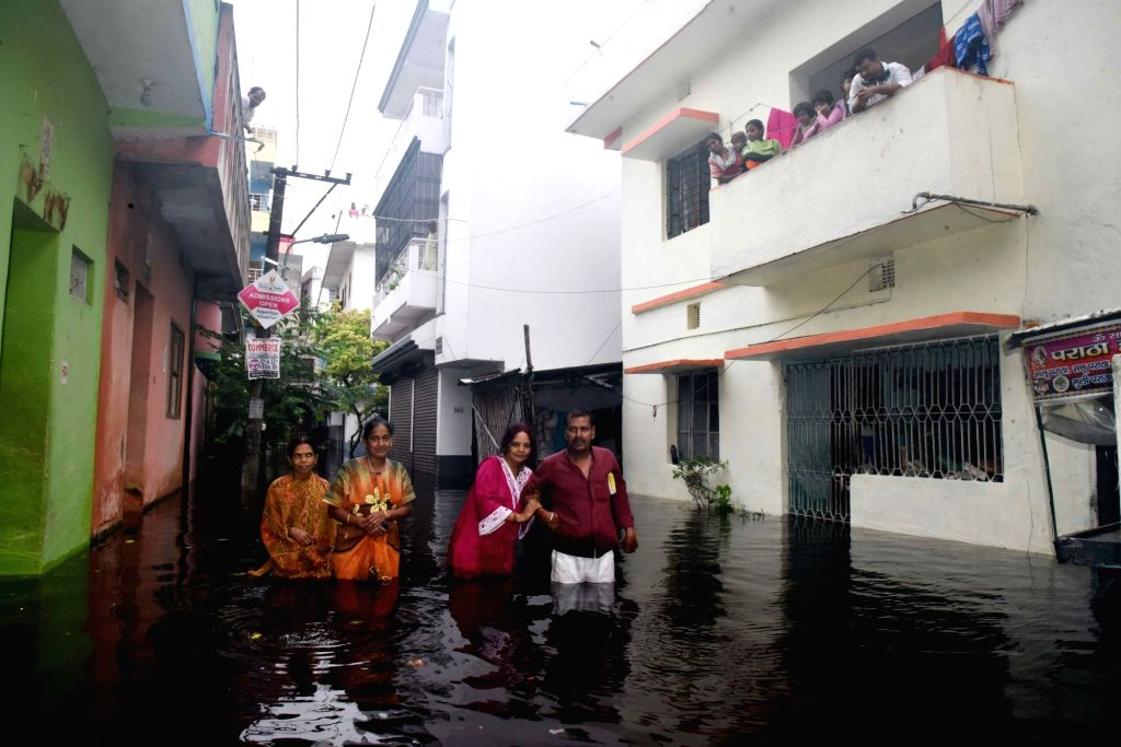 Houses partially submerged in flood water in Patna, on Sep 30, 2019.