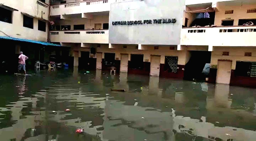 Houses submerged in water as heavy rains leave Hyderabad flooded, on Sep 27, 2019.