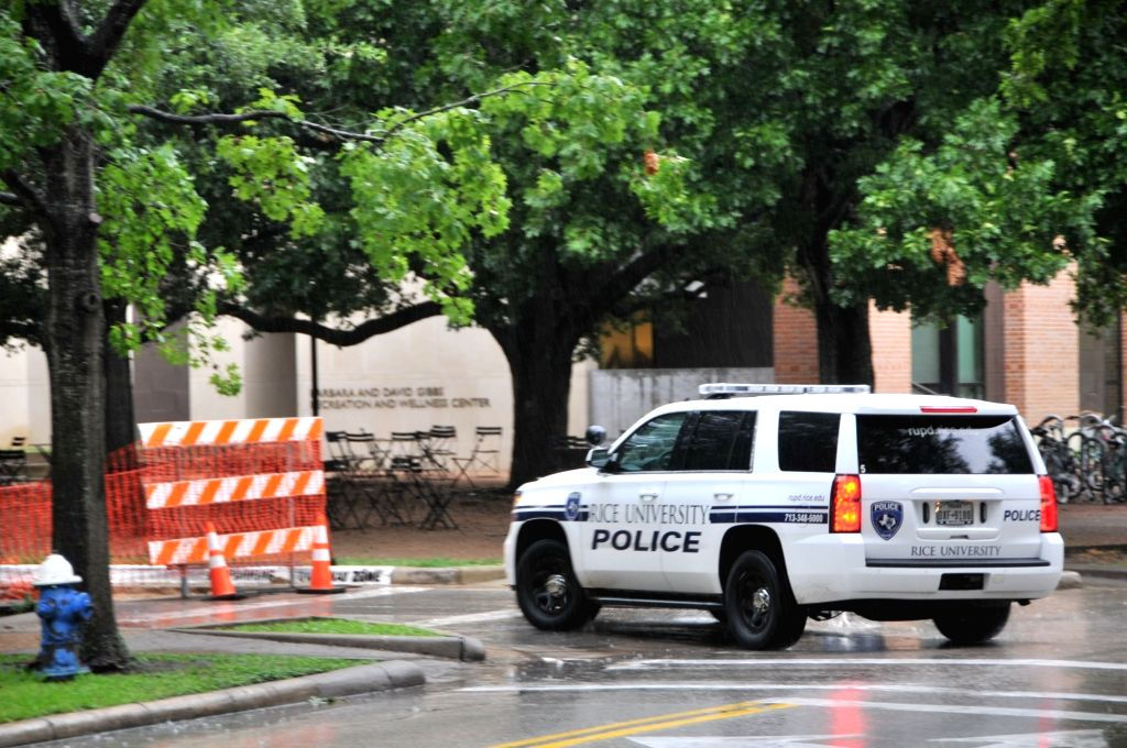 HOUSTON, Aug. 17, 2017 - A Rice University-stationed police officer drives a police car patrolling in Rice University, Texas, the United States, on Aug. 2, 2017. The United States has some of the ...