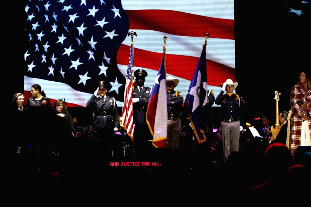HOUSTON, Dec. 4, 2018 - Honor guards are seen at a ceremony honoring the life of former U.S. President George H.W. Bush, who passed away on Nov. 30 at the age of 94, in Houston, Texas, the United ...