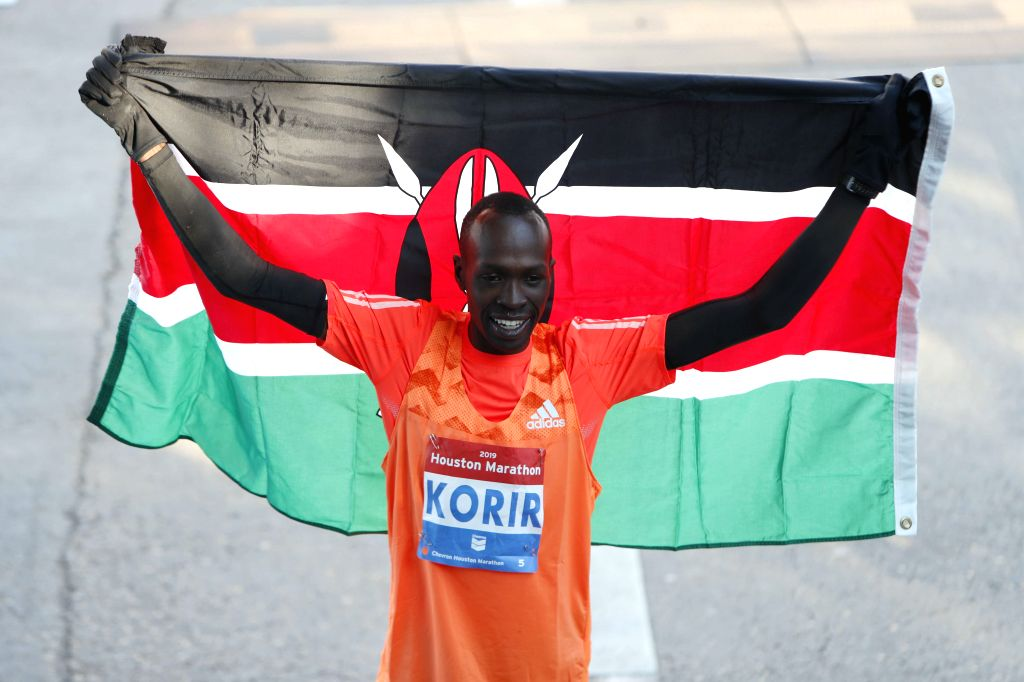 HOUSTON, Jan. 21, 2019 - Albert Korir of Kenya celebrates after the Houston Marathon in Houston, the United States, Jan. 20, 2019.
