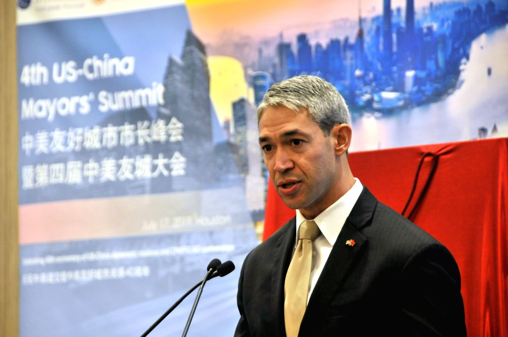 HOUSTON, July 18, 2019 - Ron Nirenberg, chair of Sister Cities International (SCI) and mayor of San Antonio of Texas, delivers a speech to the fourth U.S.-China Sister Cities Mayors' Summit in ...