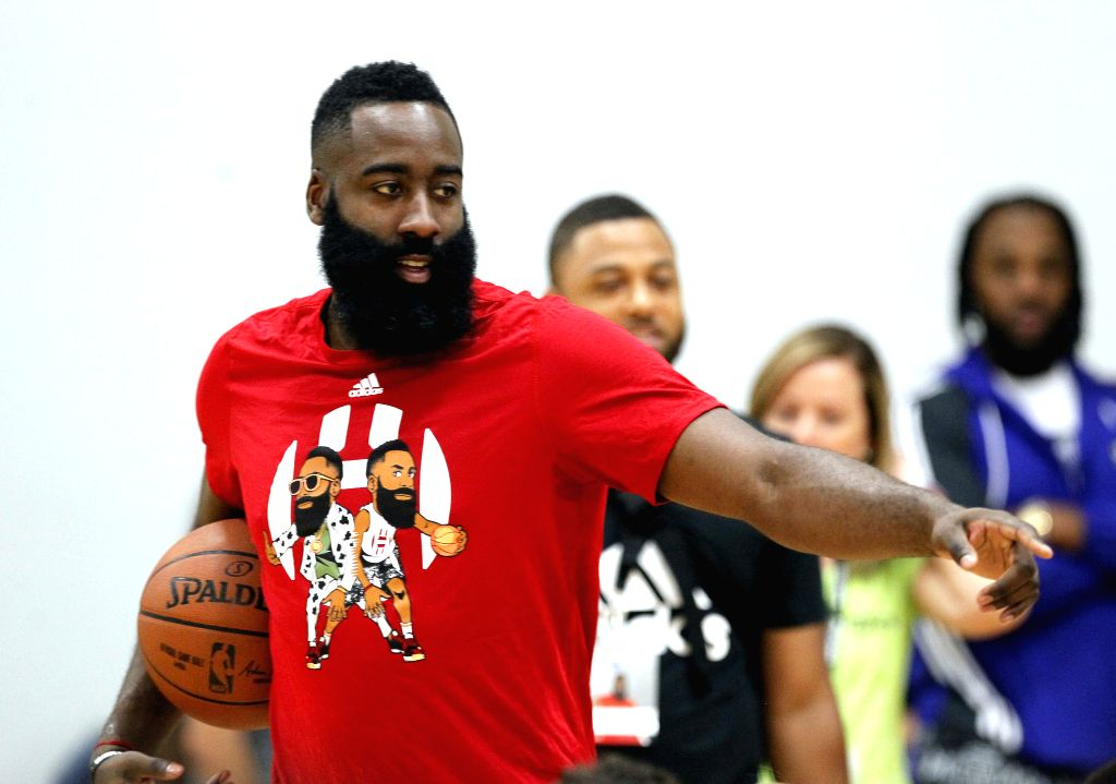 HOUSTON, July 21, 2019 - NBA Houston Rockets player James Harden gives instructions during the James Harden Basketball Camp in Houston, the United States, July 20, 2019,
