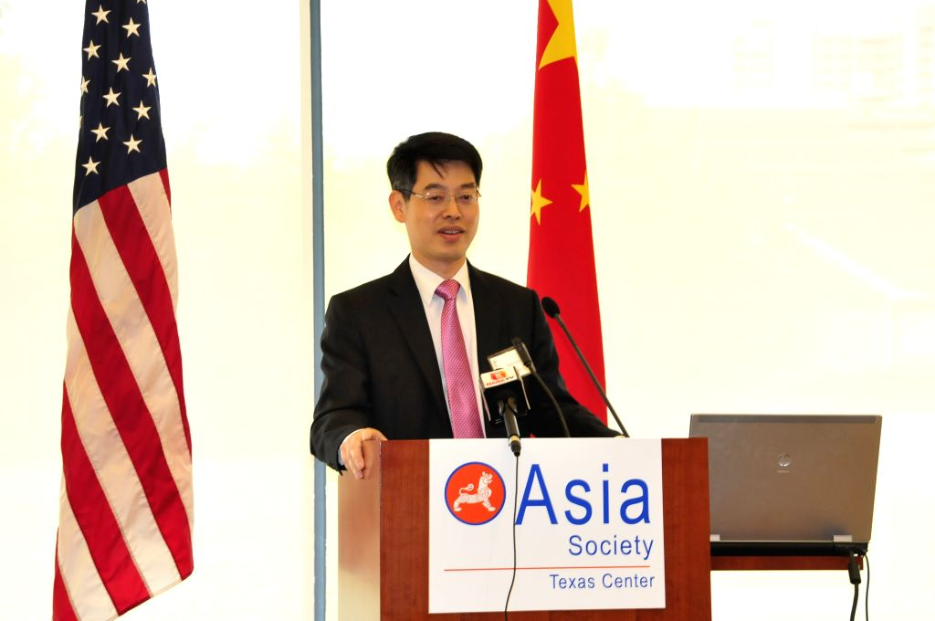 """HOUSTON, June 4, 2016 - China's Deputy Consul General in Houston Zhao Yumin gives a keynote speech titled """"Maintaining Peace and Stability in the South China Sea"""" at an event jointly ..."""