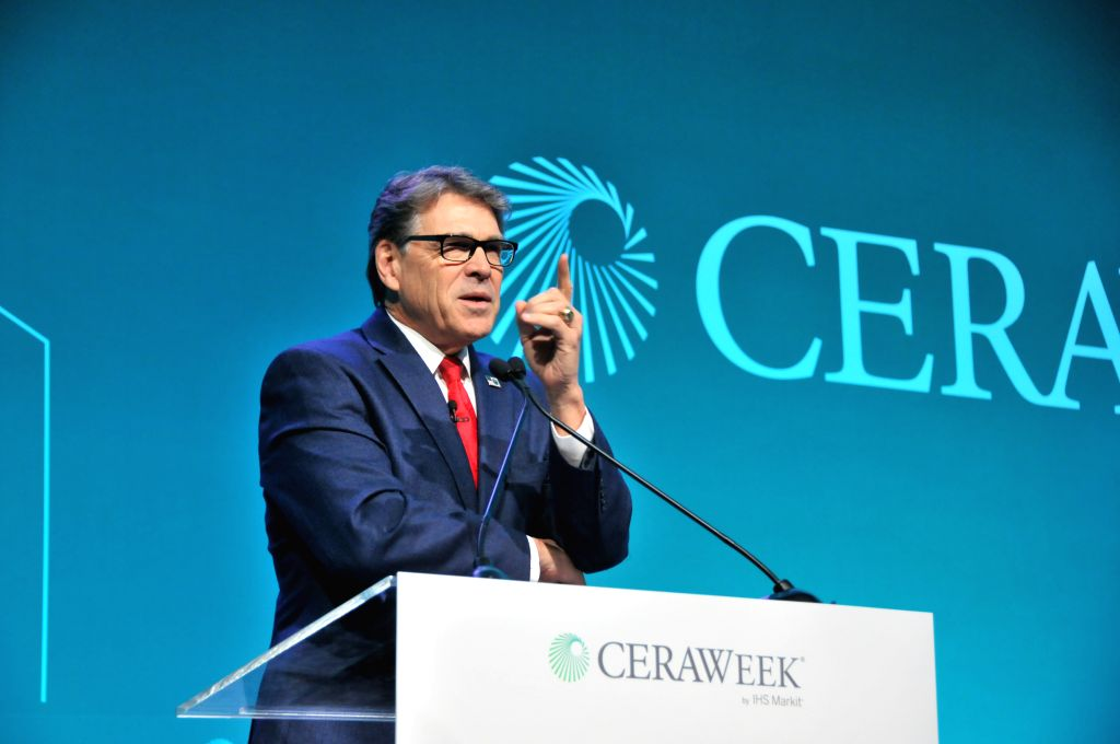 HOUSTON, March 14, 2019 - U.S. Energy Secretary Rick Perry delivers a speech at CERAWeek in Houston, Texas, the United States, on March 13, 2019. The 38th CERAWeek, which kicked off on Monday, is an ...