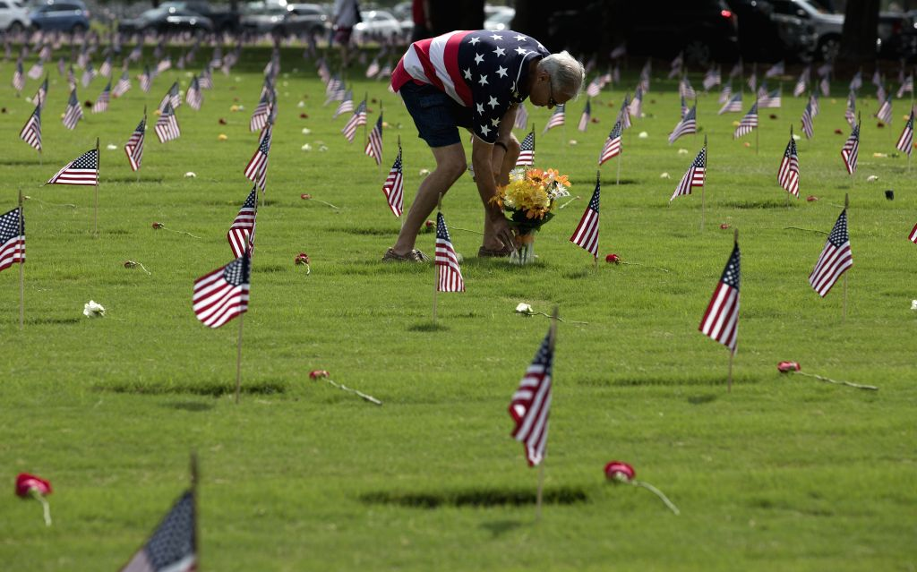 HOUSTON, May 27, 2019 - A man visits the Houston National Cemetery on Memorial Day in Houston, Texas, the United States, on May 27, 2019. Hundreds of people attended the annual Memorial Day ...