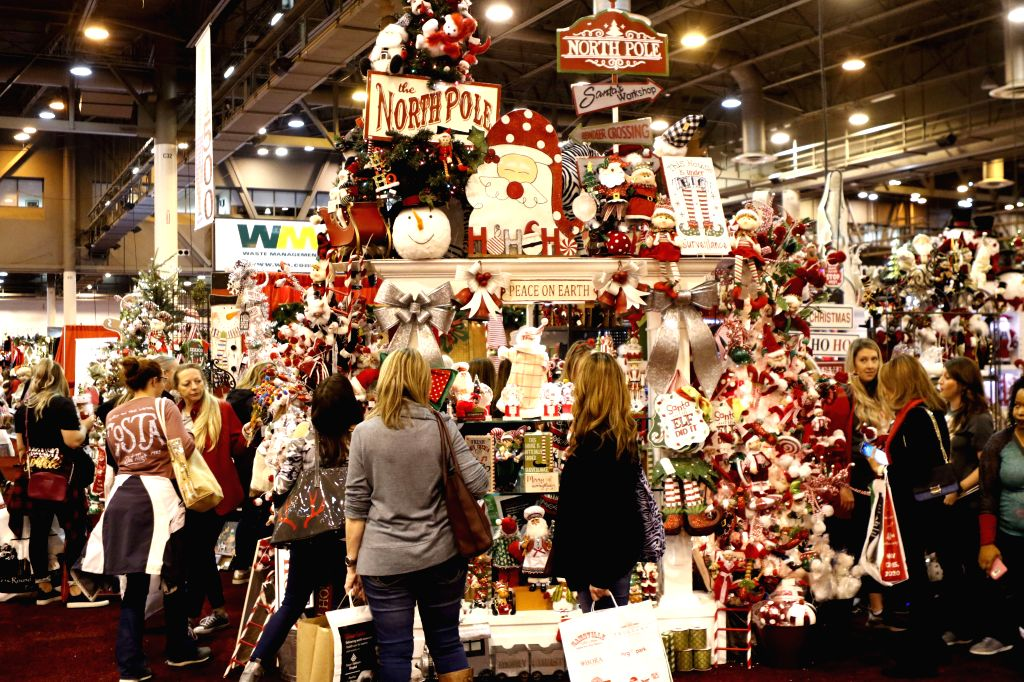 "HOUSTON, Nov. 15, 2019 - People buy festive goods at the ""Nutcracker Market"" in Houston, the United States, Nov. 14, 2019. The annual ""Nutcracker Market"" opened here on Thursday, ..."