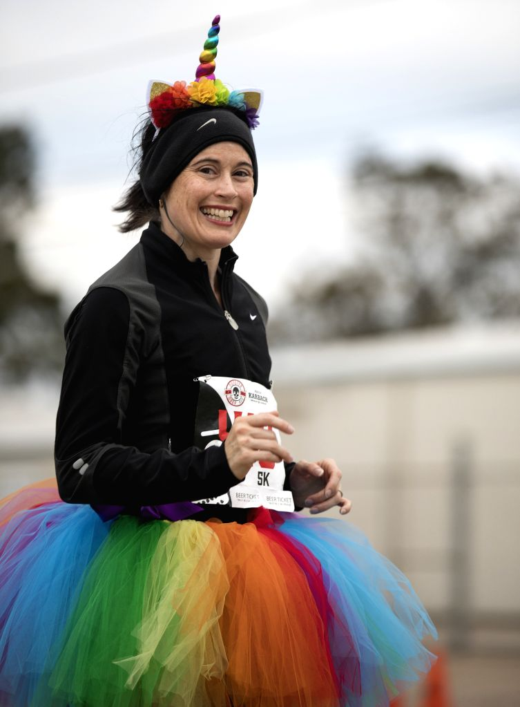 HOUSTON, Oct. 27, 2019 - A runner dressed in a set of unicorn outfit participates in a Halloween-themed run in Houston, Texas, the United States, on Oct. 26, 2019. Over 1,600 runners participated in ...