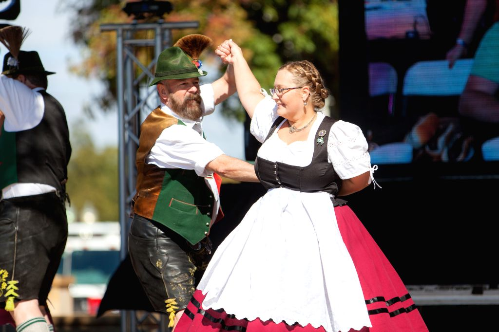 HOUSTON, Oct. 27, 2019 - People dance at the Steinfest in Plano, Texas, the United States, on Oct. 26, 2019. Steinfest is an Oktoberfest-style event hosted by the Historic Downtown Plano Association ...