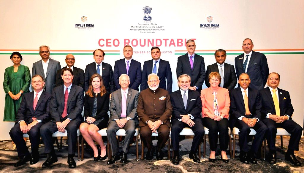 Houston: Prime Minister Narendra Modi during a meeting with the CEOs of the companies working in energy sector in Houston, US on Sep 22, 2019. (Photo: IANS/MEA) - Narendra Modi