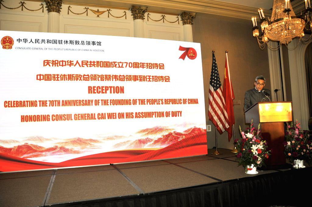 HOUSTON, Sept. 13, 2019 - Chinese Consul General in Houston Cai Wei delivers a speech at a reception in Houston, the United States, on Sept. 12, 2019. A reception was held Thursday night in Houston ...