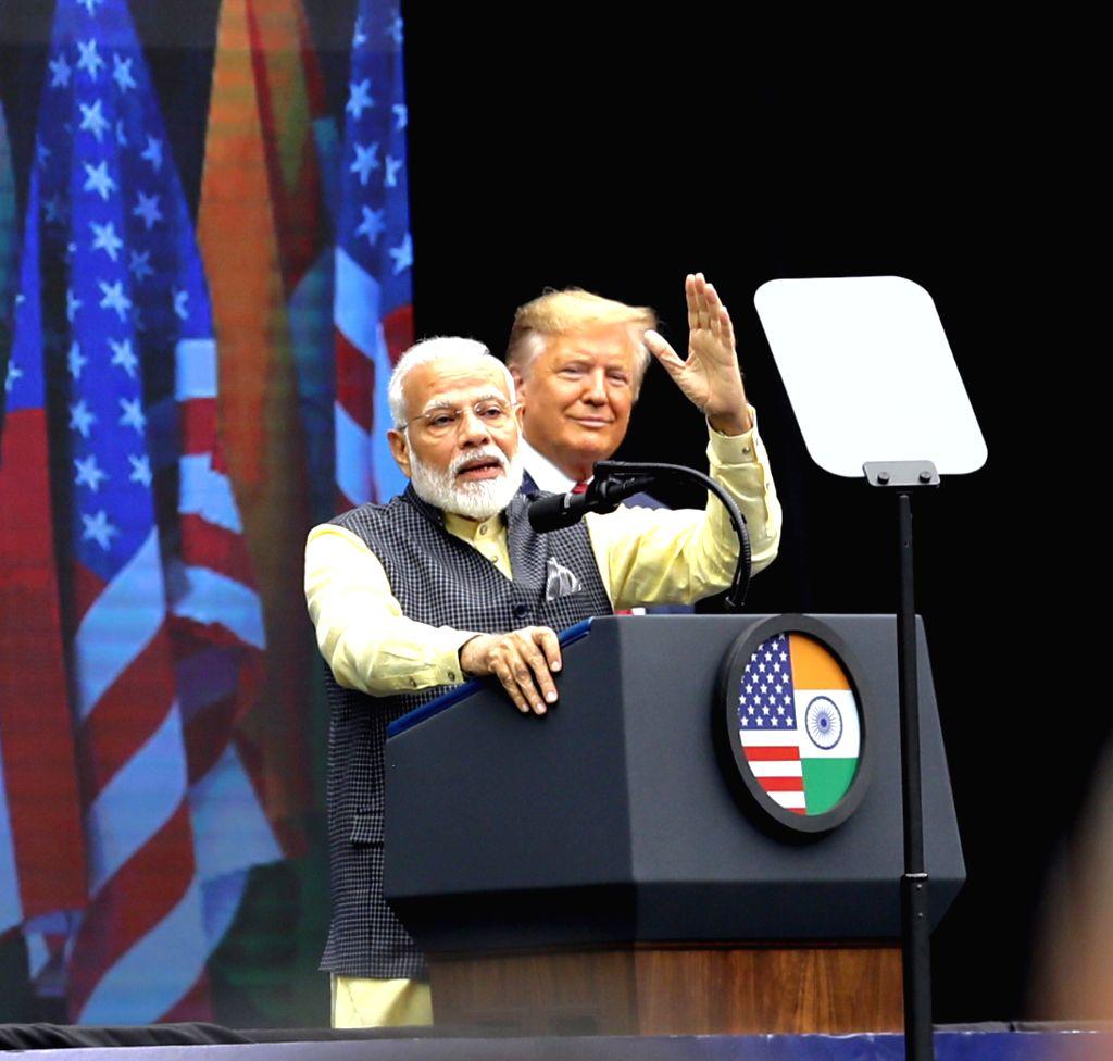 "HOUSTON, Sept. 23, 2019 - Indian Prime Minister Narendra Modi addresses the ""Howdy, Modi!"" rally in Houston, Texas, the United States on Sept. 22, 2019. U.S. President Donald Trump on ... - Narendra Modi"