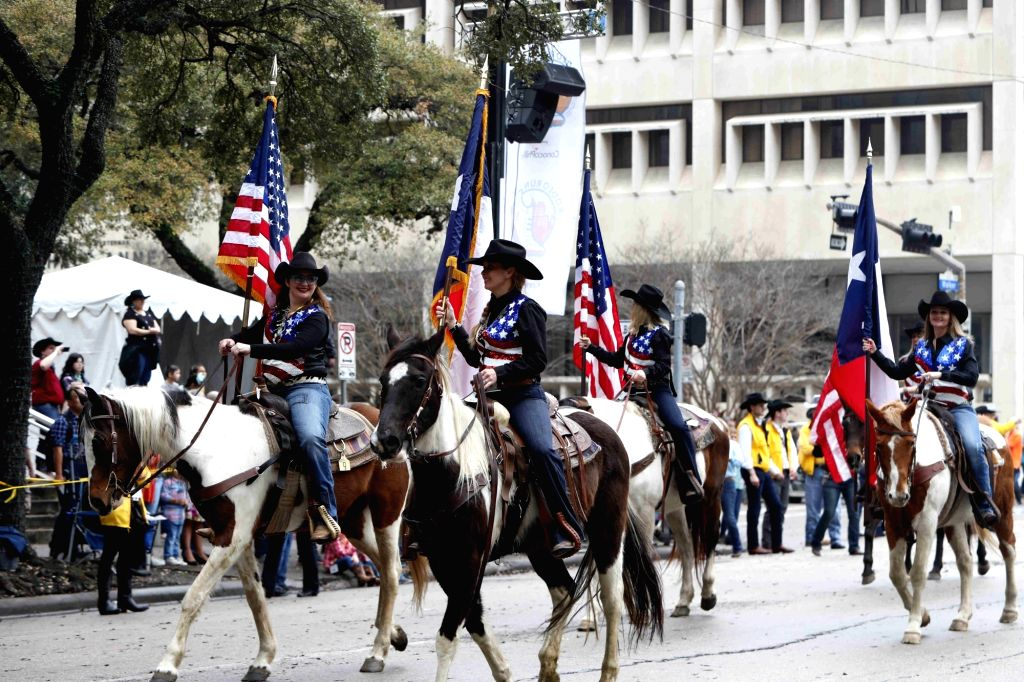 HOUSTON (U.S.), Feb. 23, 2019 Cowgirls attend the annual Houston Rodeo parade in Houston, Texas, the United States, Feb. 23, 2019. More than 2,000 trail riders gathered in downtown ...