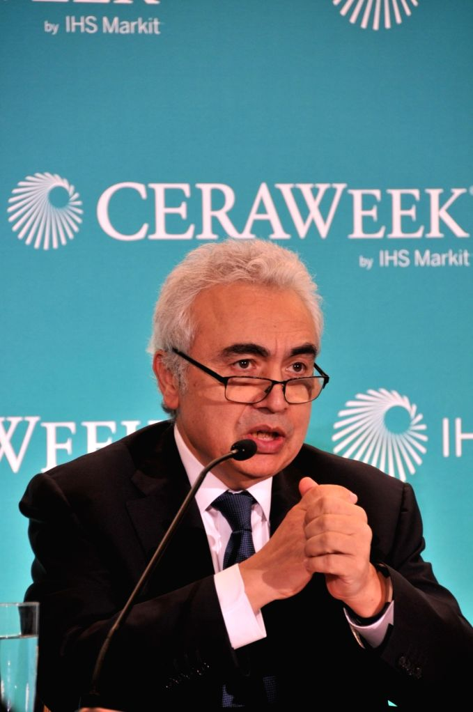 HOUSTON (U.S.), March 11, 2019 Fatih Birol, Executive Director of International Energy Agency (IEA), speaks at a press conference in Houston, Texas, the United States, on March 11, 2019. ...