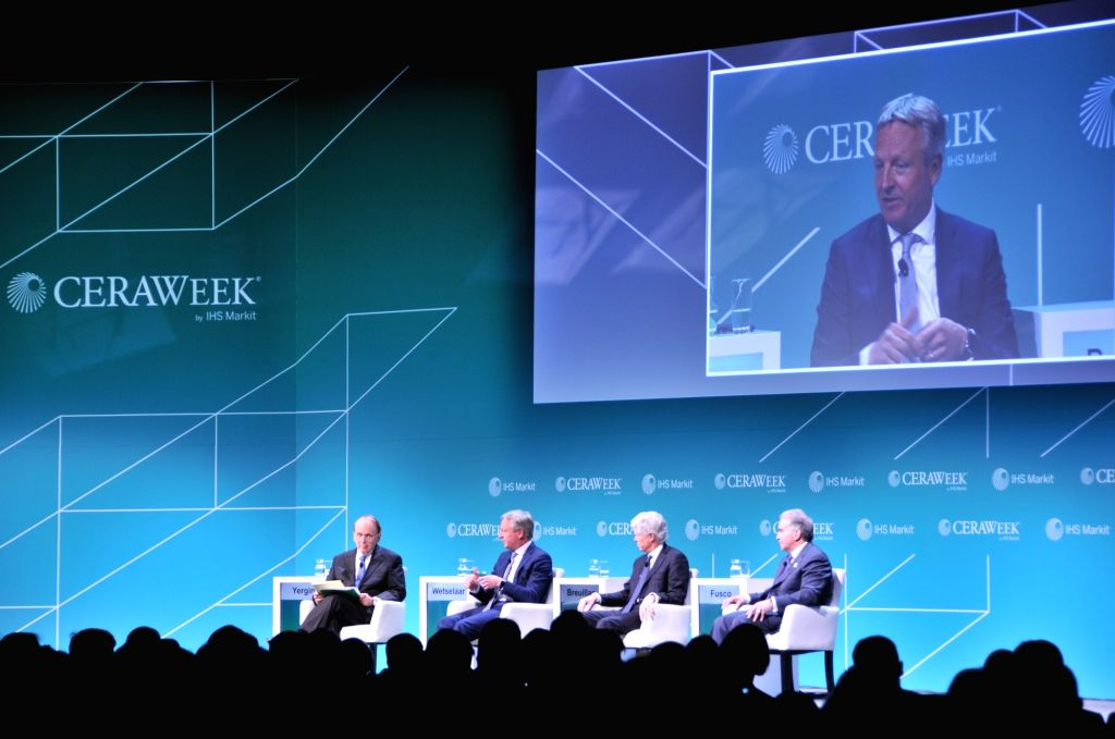 HOUSTON (U.S.), March 11, 2019 Guests attend one of the opening plenaries of the 38th CERAWeek in Houston, Texas, the United States, on March 11, 2019. The 38th CERAWeek kicked off Monday ...