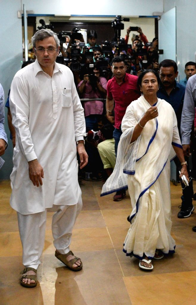 :Howrah: Former Jammu and Kashmir Chief Minister and National Conference leader Omar Abdullah meets West Bengal Chief Minister Mamata Banerjee at Nabanna in Howrah on July 27, 2018. (Photo: IANS).
