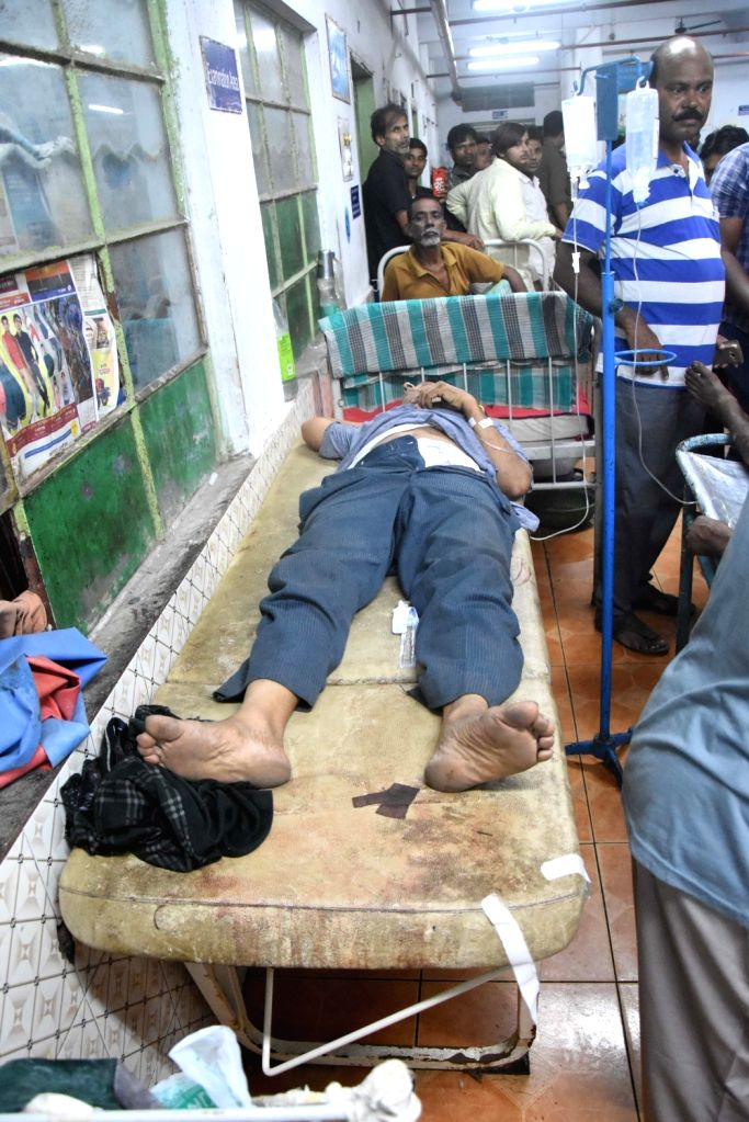 : Howrah: One of the injured in Santragachhi railway foot overbridge stampede being treated at a Howrah hospital on Oct 23, 2018. Two people were killed and a dozen others including two children ...